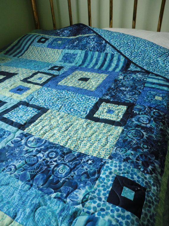 FREE Shipping USA & CANADA Azure Quilt Aqua blue by karenbialik, $375.00