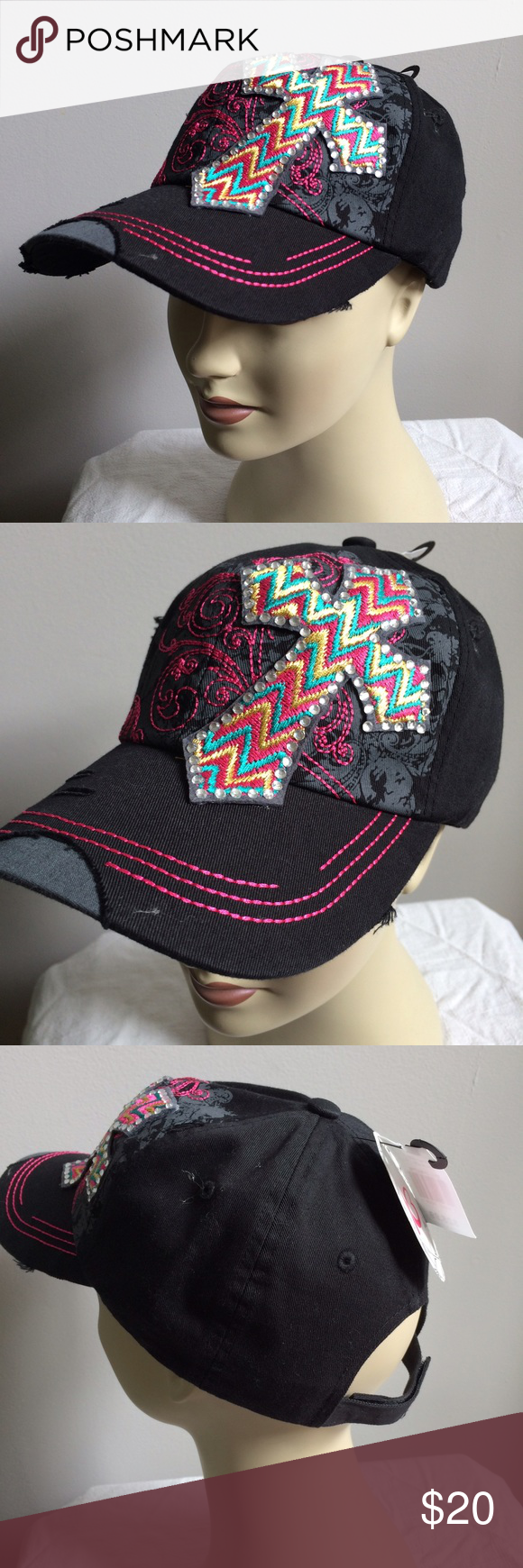17ff9512d7e NWT Black Cross Multi-Colored Baseball Hat Jeweled Brand new with attached  tags. Retail  25.99. Accessories Hats