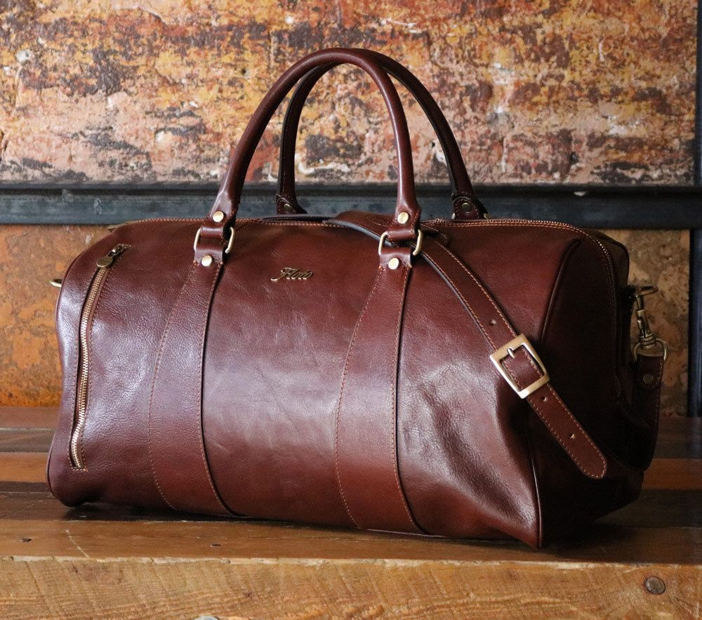 "5ec6743b7f Leather Duffle Bag 21""   Floto 141217 Brown   Travel Bag   Leather Sports  Bag"