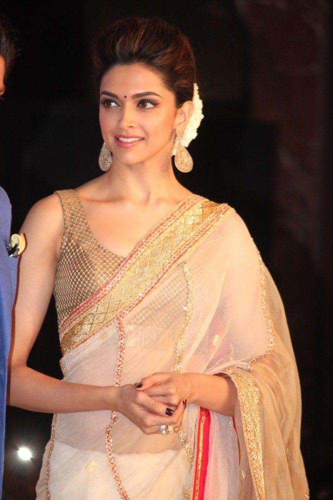 Deepika Padukone Photos In Designer White Saree (3) in ...