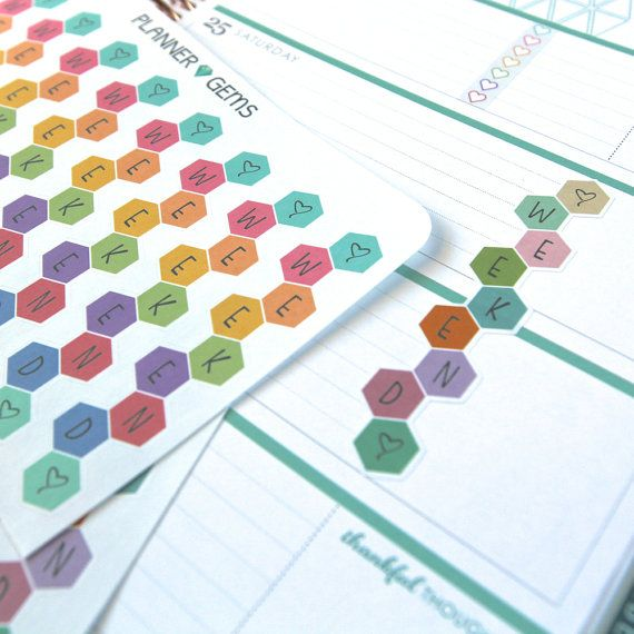 9 EC HL Small Honeycomb Weekend Banner Stickers | Planner Stickers | For Erin Condren Horizontal Layout LifePlanners, etc.
