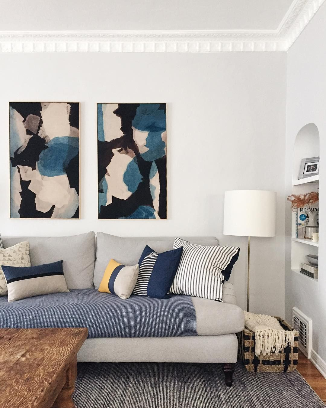 blue, black, white and mustard living room @ginny_macdonald • 746 ...