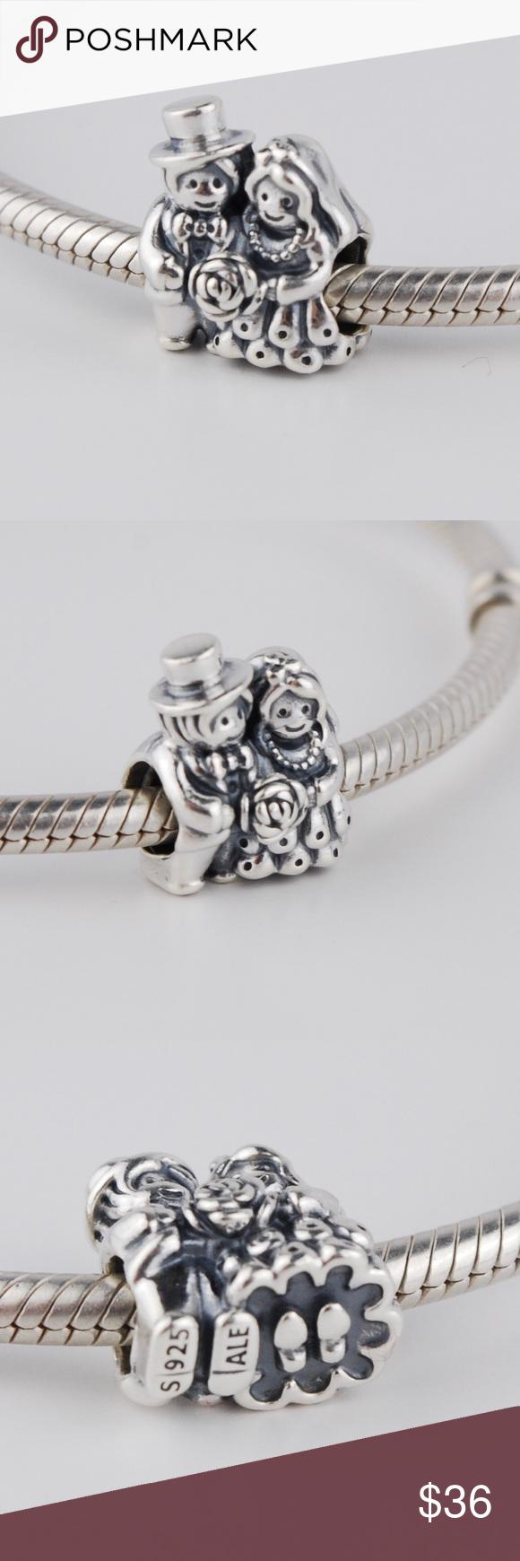 f38fd92bb PANDORA Mr. & Mrs. Bride & Groom Wedding Charm Authentic PANDORA Sterling  Silver Mr