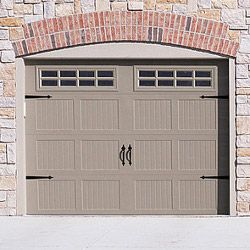 Stamped steel carriage style garage door with decorative for Garage door refacing