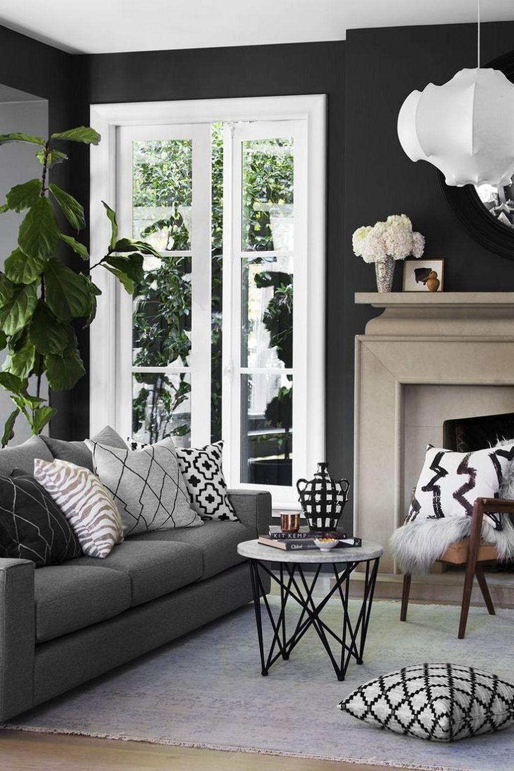 48 Beautiful Black Living Room Ideas Trendehouse Dark Walls Living Room Black Living Room Living Room Decor