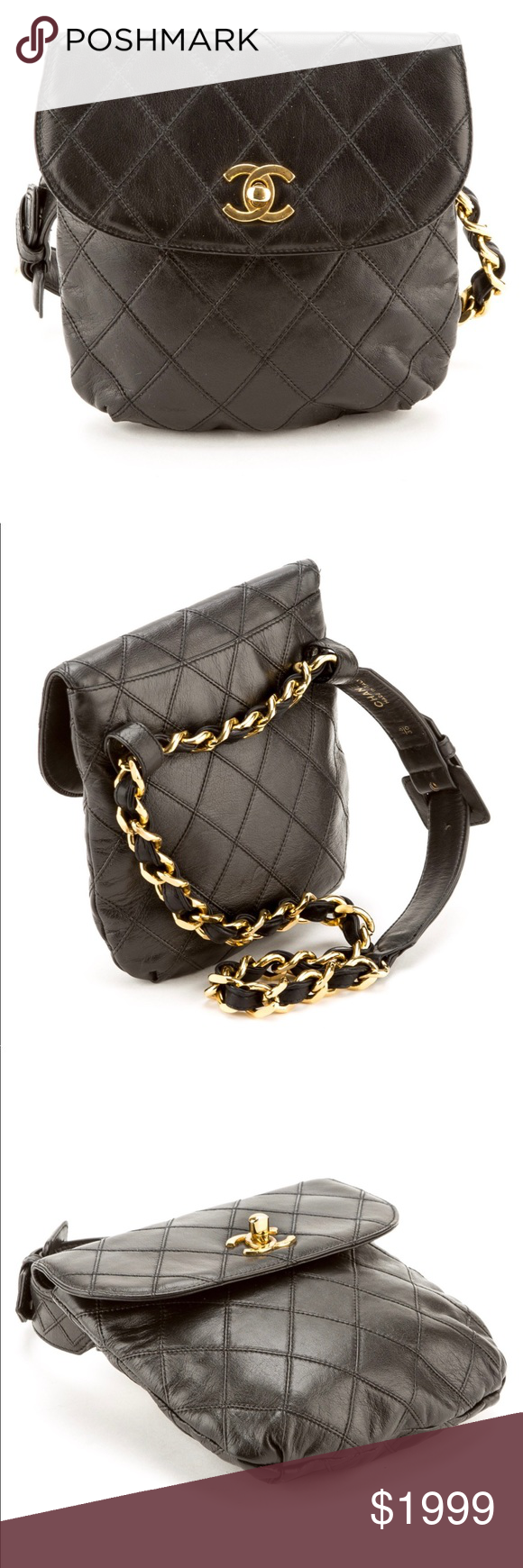 50f83ca4b468 Authentic CHANEL fanny pack belt bum bag Quilted Hottest bag of 2018-  Vintage Chanel Black