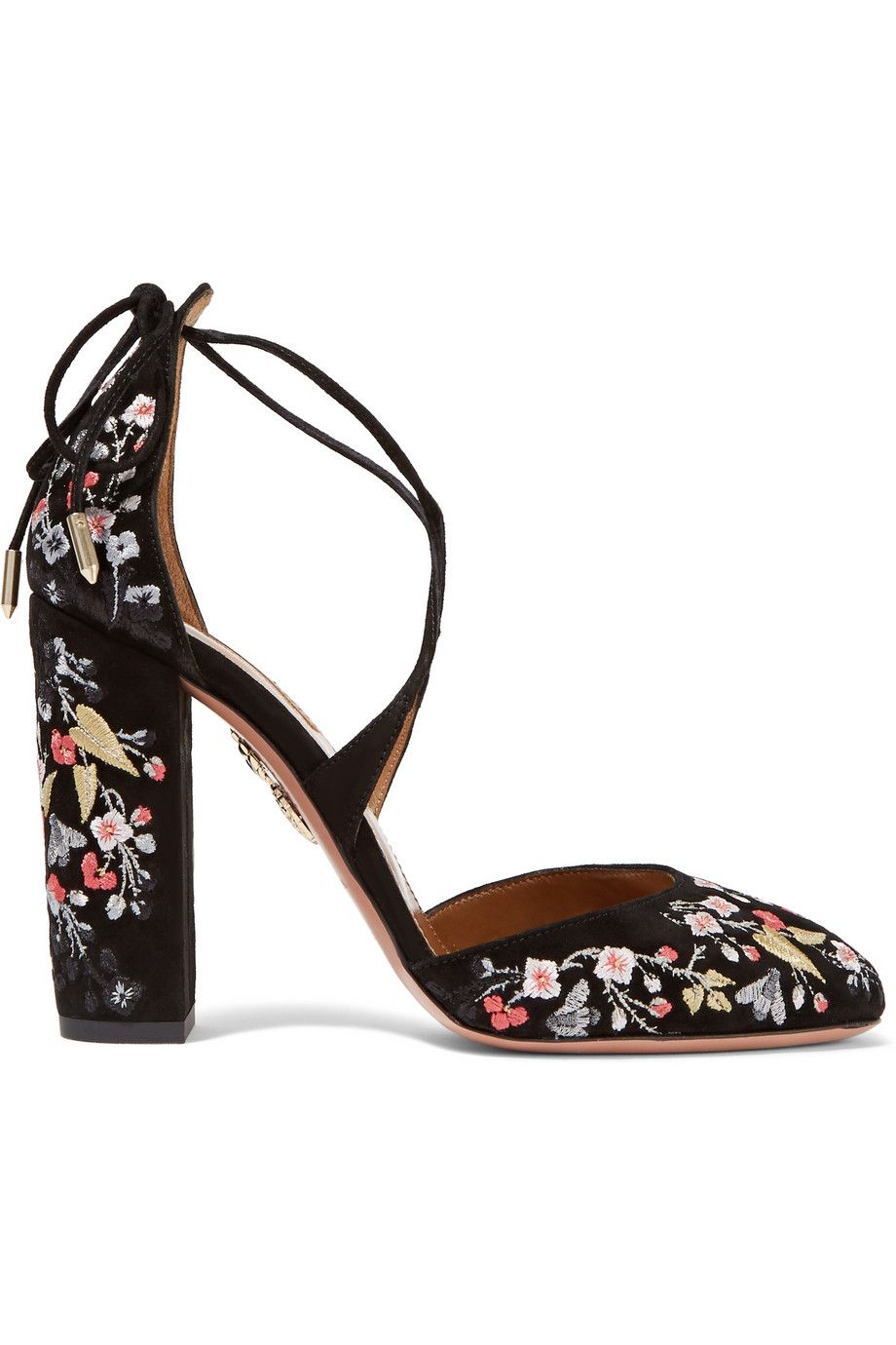 Aquazzura Karlie Floral-Embroidered Pumps cheap visit new cheap sale best store to get clearance low cost lowest price cheap online MYfptEoG