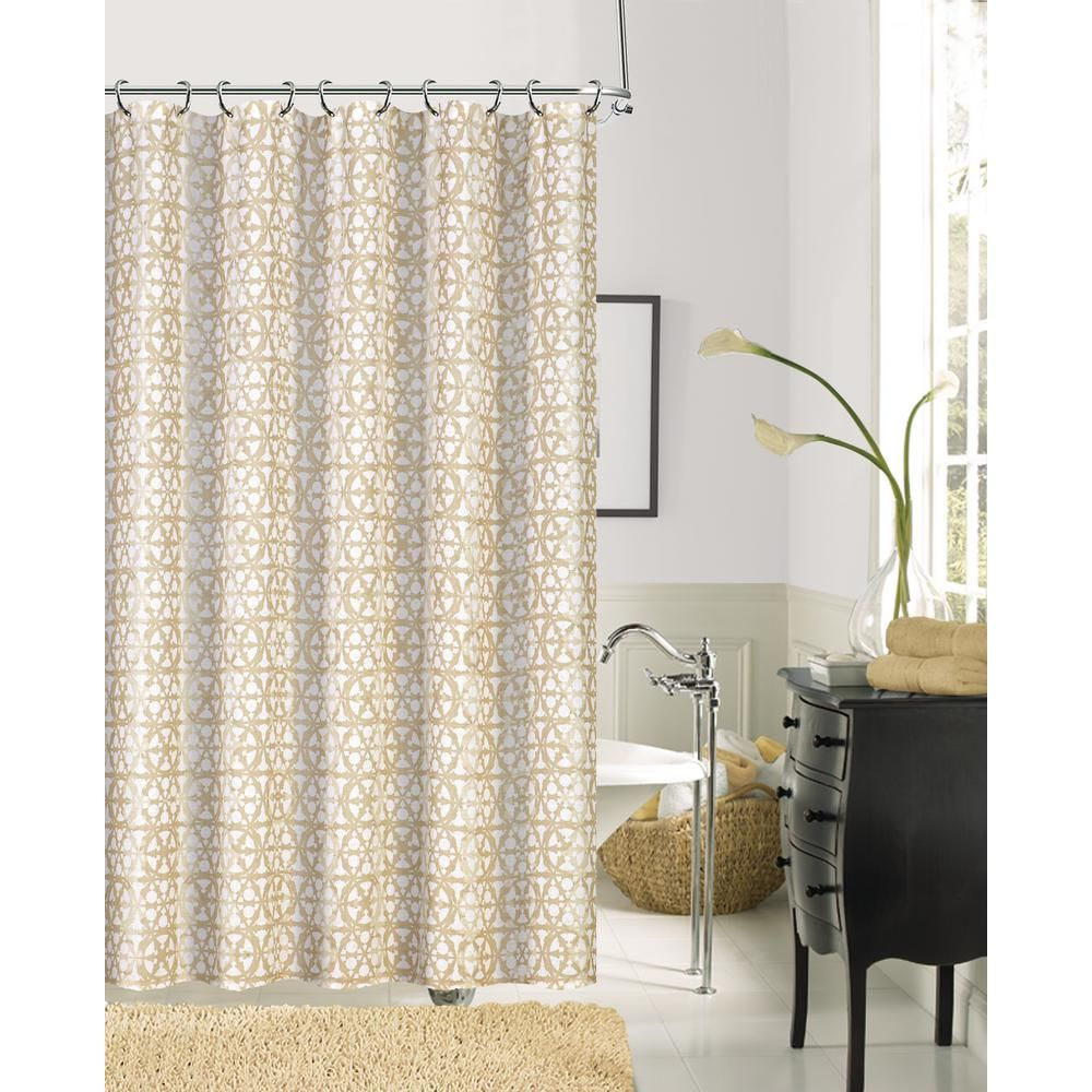 Dainty Home Jupiter 72 In Gold Faux Linen Printed Shower Curtain