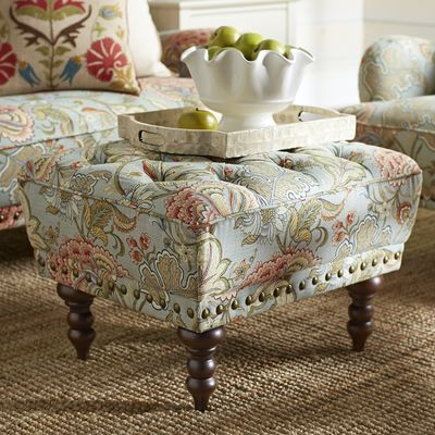 Chas Blue Floral Ottoman Shabby Chic Table Chairs