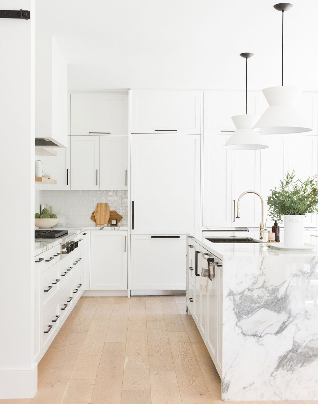 All White Cabinets With Black Handles White Kitchen Design