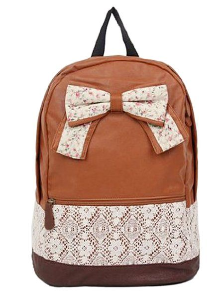 fb2fca542bb2 New Fashion Trendy Cute Korean Lace College Style Floral Print Leisure School  Bag Outdoor Backpack for Teens Students Women Ladies Girls  Brown Amazon Shoes