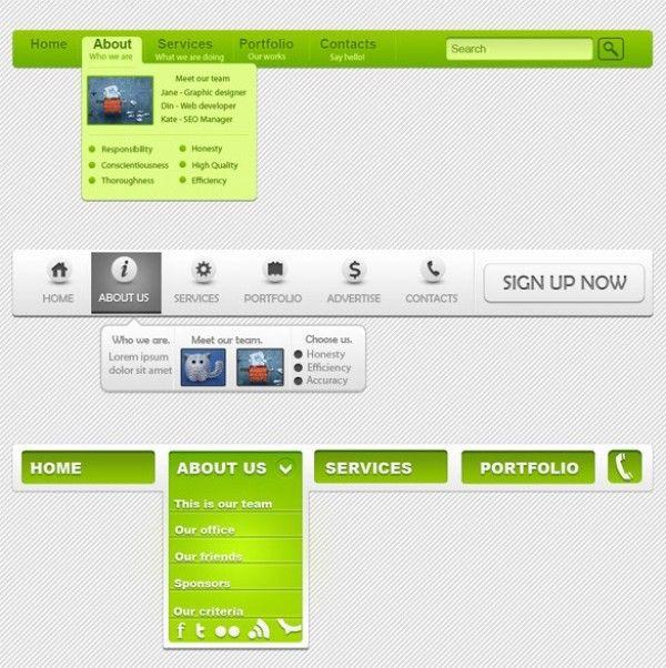 3 Unique Web Navigation Menus PSD - http://www.welovesolo.com/3-unique-web-navigation-menus-psd/