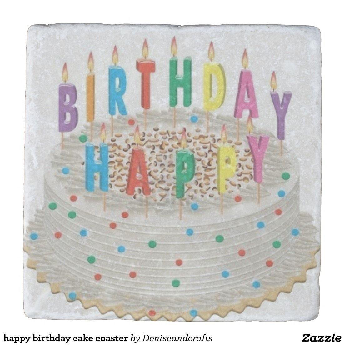 Super Happy Birthday Cake Coaster Zazzle Com With Images Happy Personalised Birthday Cards Paralily Jamesorg