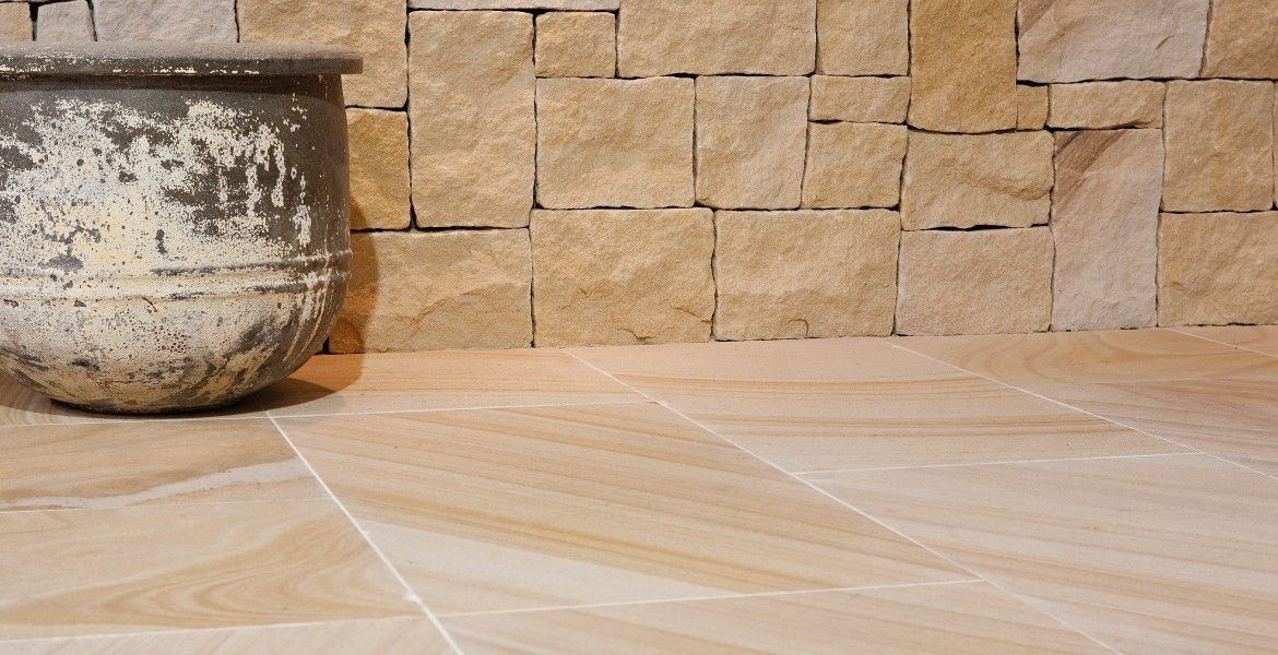 Sandstone and bluestone outdoor kitchen - Eco Outdoor | Natural stone  pavers, Outdoor flooring, Natural flooring