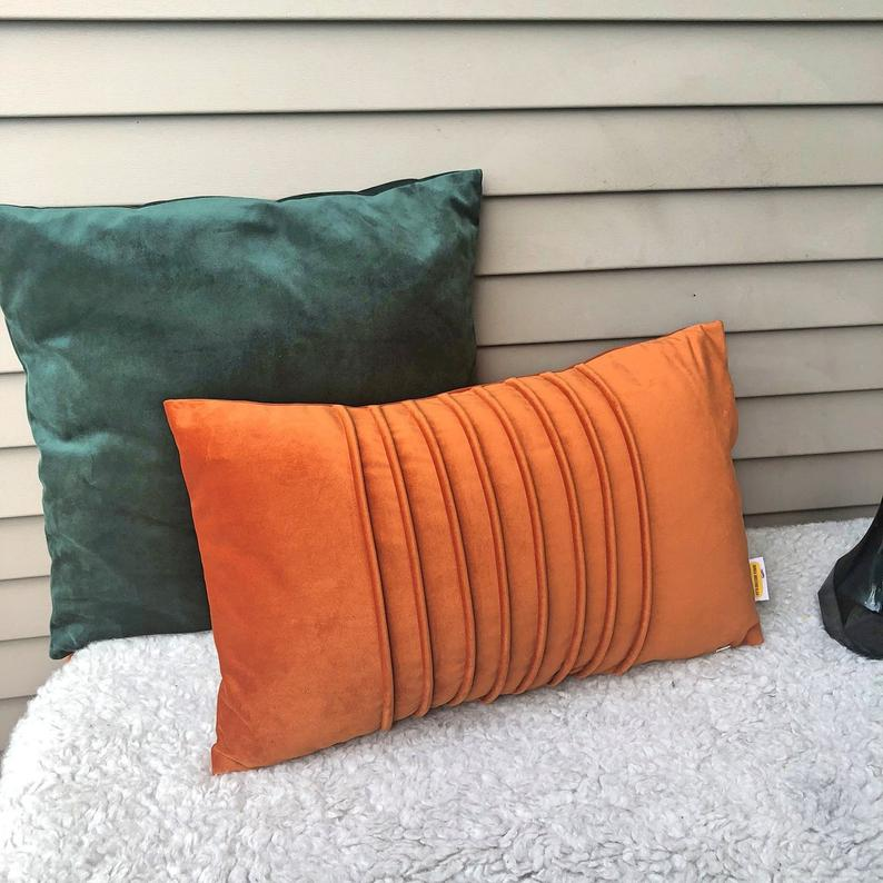 Burnt Orange Lumbar Pillow Cover Soft Solid Decorative Cushion