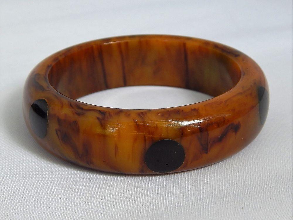 Vintage Art Deco Carmel Marbled Bakelite Polka Dot Bangle BRacelet chunky 54g