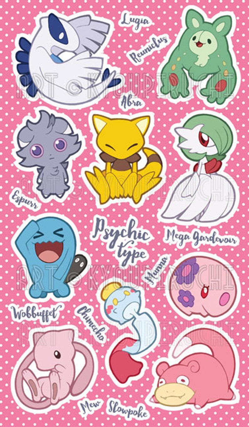 Psychic Type Pokemon Sticker Sheet Pokemon Type Series Etsy Cute Pokemon Wallpaper Pokemon Stickers Type Pokemon