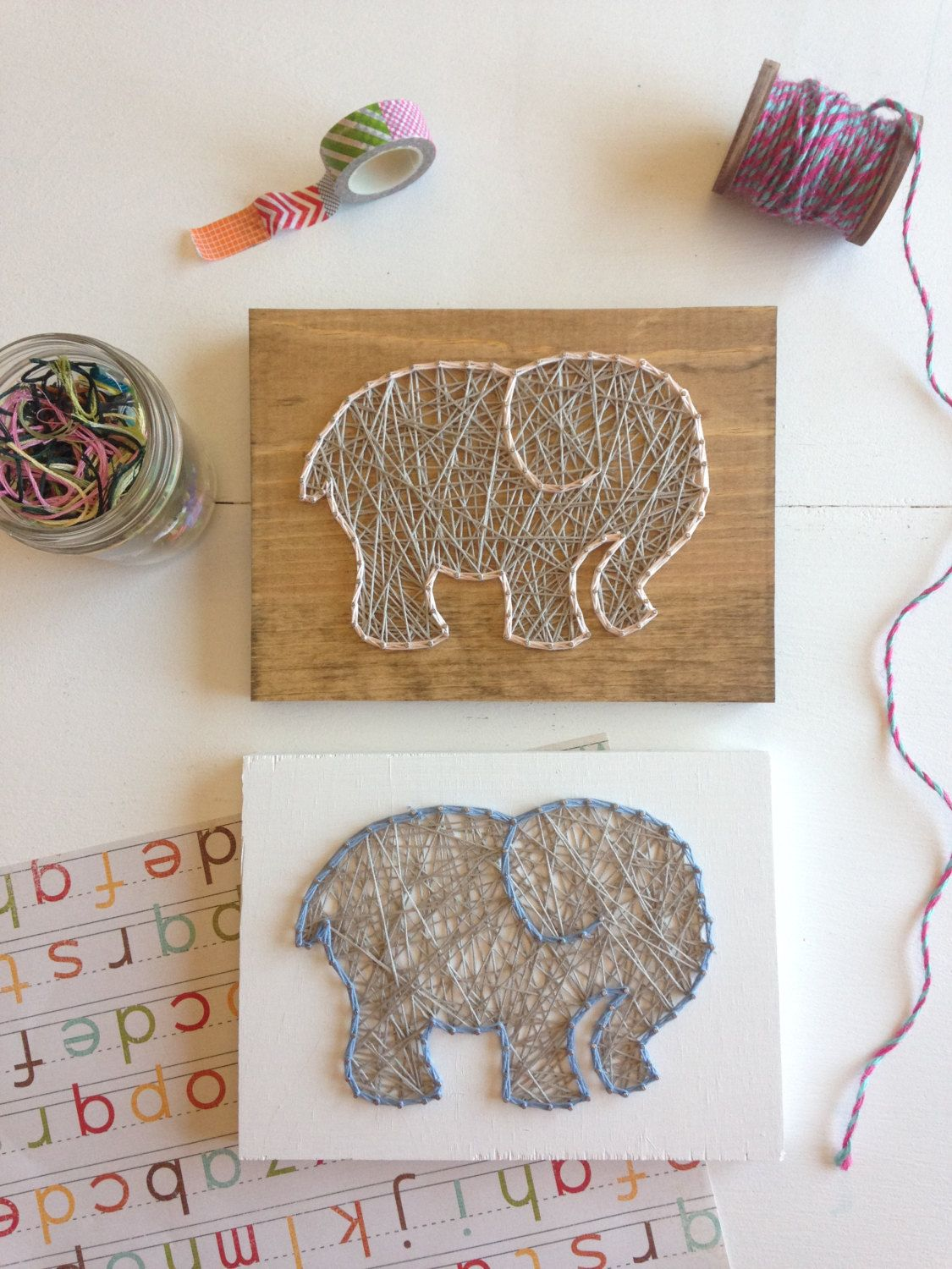 Mini String Art Elephant Nursery Decor Baby Shower Gift Gray and Choose your color wood sign and string colorful fun bright home decor from my Etsy shop https://www.etsy.com/listing/467877533/mini-string-art-elephant-nursery-decor