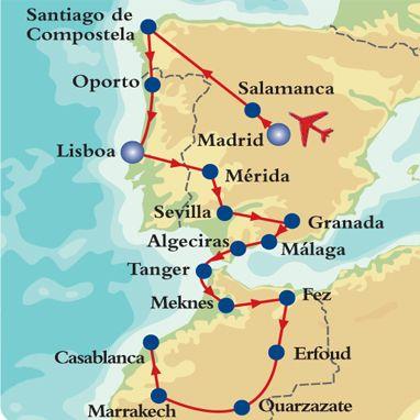 España Y Portugal Mapa.Mapa E Itinerario De Europa Para Dos 2 Espana Portugal Y
