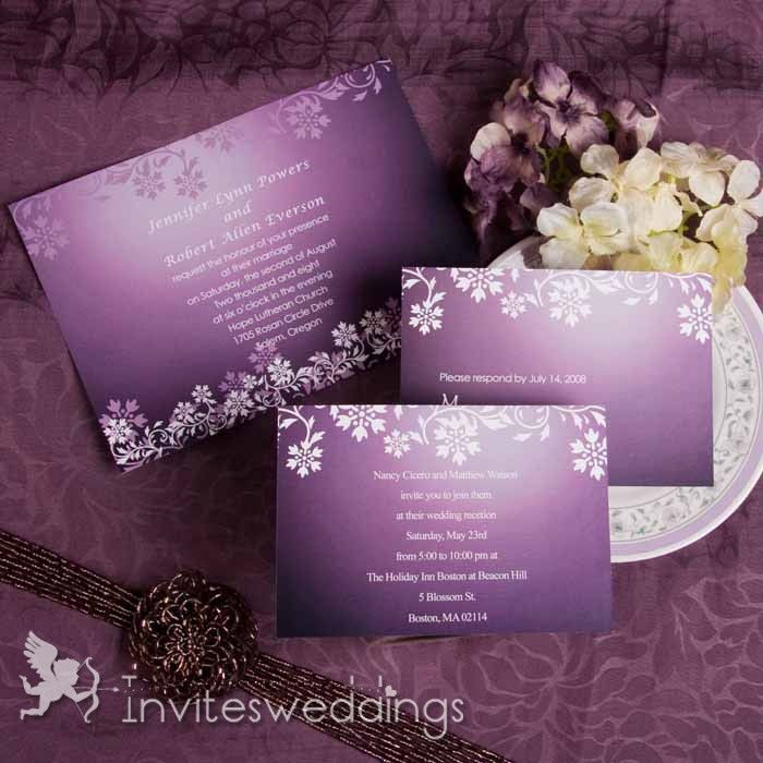 Carlson Craft Pocket Wedding Invitations: Fascinating Purplish Snow Flake Wedding Invitations IWI004