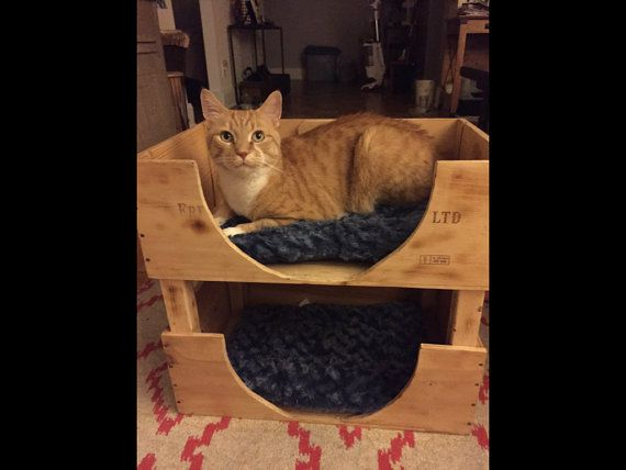 Handmade Wooden Pet Beds Made With Reclaimed Wine Crates Etsy Wooden Pet Bed Wine Crate Wooden Cat