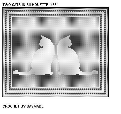 4 Cat Kitten Filet Crochet Doily Afghan Patterns Wallhanging