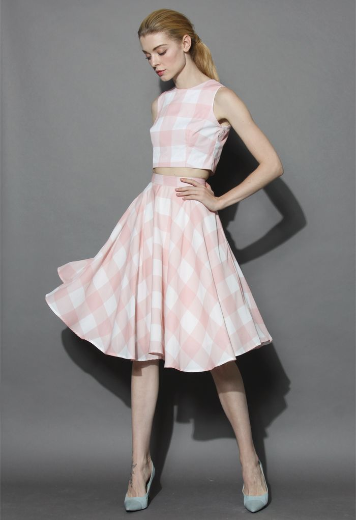 a675a863b125 Check and Chic Cropped Top and Skirt Set - New Arrivals - Retro ...