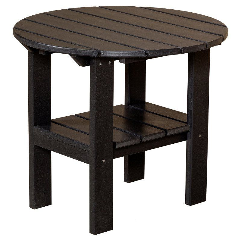 Outdoor Little Cottage Classic Round Adirondack Side Table   LCC 223 BLACK