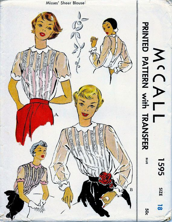 Mccall 1595 Vintage 1950 Sewing Pattern Blouses Sheer With Opaque
