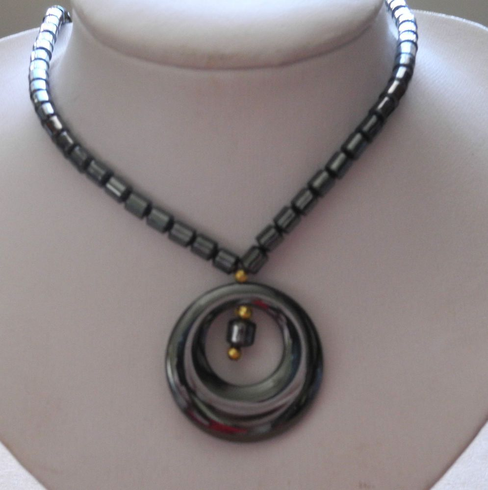 """HEMATITE BEAD STRAND WITH 1 1/2"""" ROUND DROP WITH CENTER BEADS NECKLACE 18"""" NEW!  #BeadedStrand"""