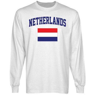 Netherlands Flag Long Sleeve T-Shirt - White