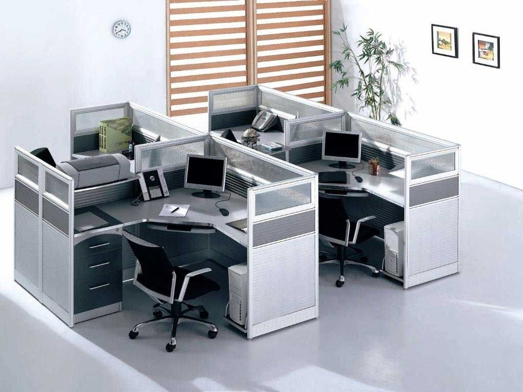 Modern compact glass office cubicle workstations 99home for Office dividers modern