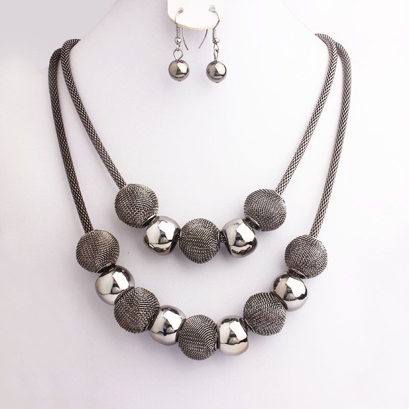 Jewelry Set Blue Hearts-Necklace Bracelet Earrings Handcraft beads