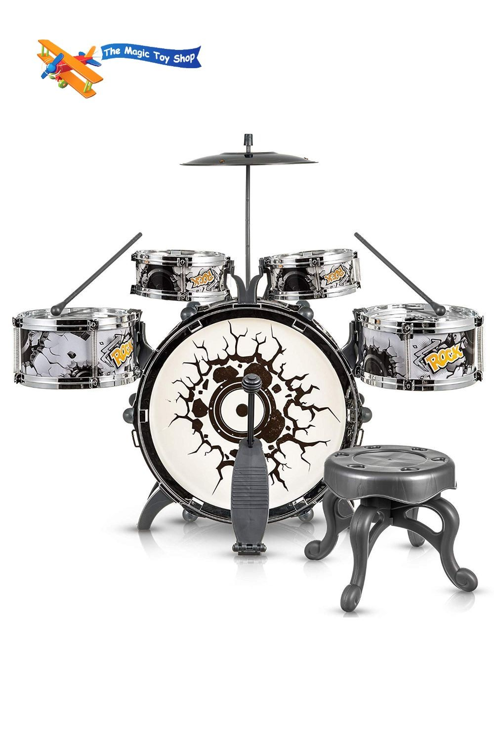Kids Black and White Drum Kit Play Set Drums Musical Toy