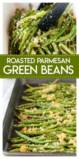 Roasted Parmesan Green Beans - INSPIRED RECIPE #parmesan #green #beansalad #sidedish #thanksgiving #recipes #thanksgivingrecipes