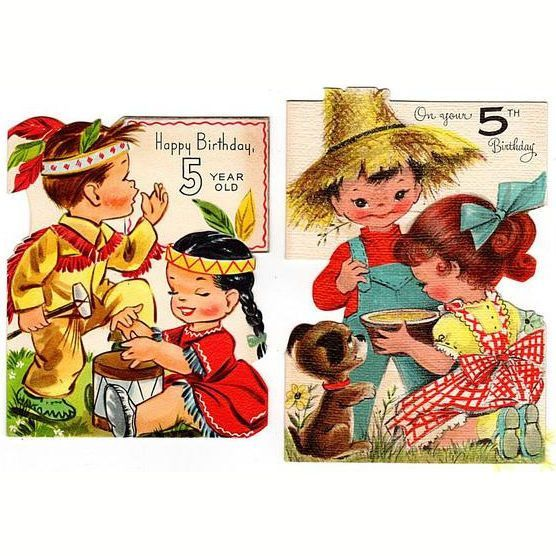 Vintage 5th Birthday Cards Lot Of 2 5 Year Old Kids Card Indians