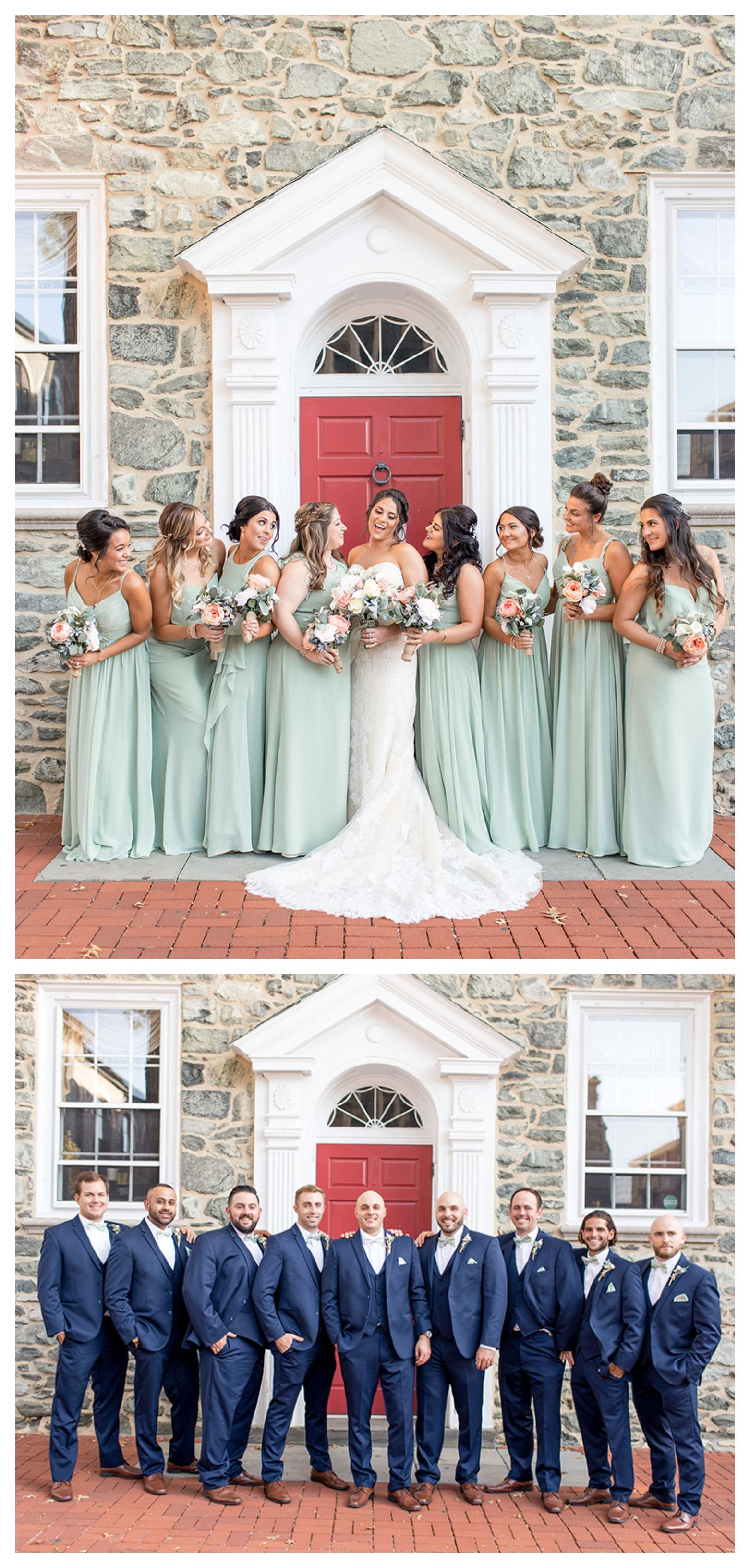 Light Green Bridesmaid Dresses And Navy Groomsmen Penn Oaks Golf Course Light Green Bridesmaid Dresses Sage Green Bridesmaid Dress Summer Bridesmaid Dresses [ 3264 x 1562 Pixel ]