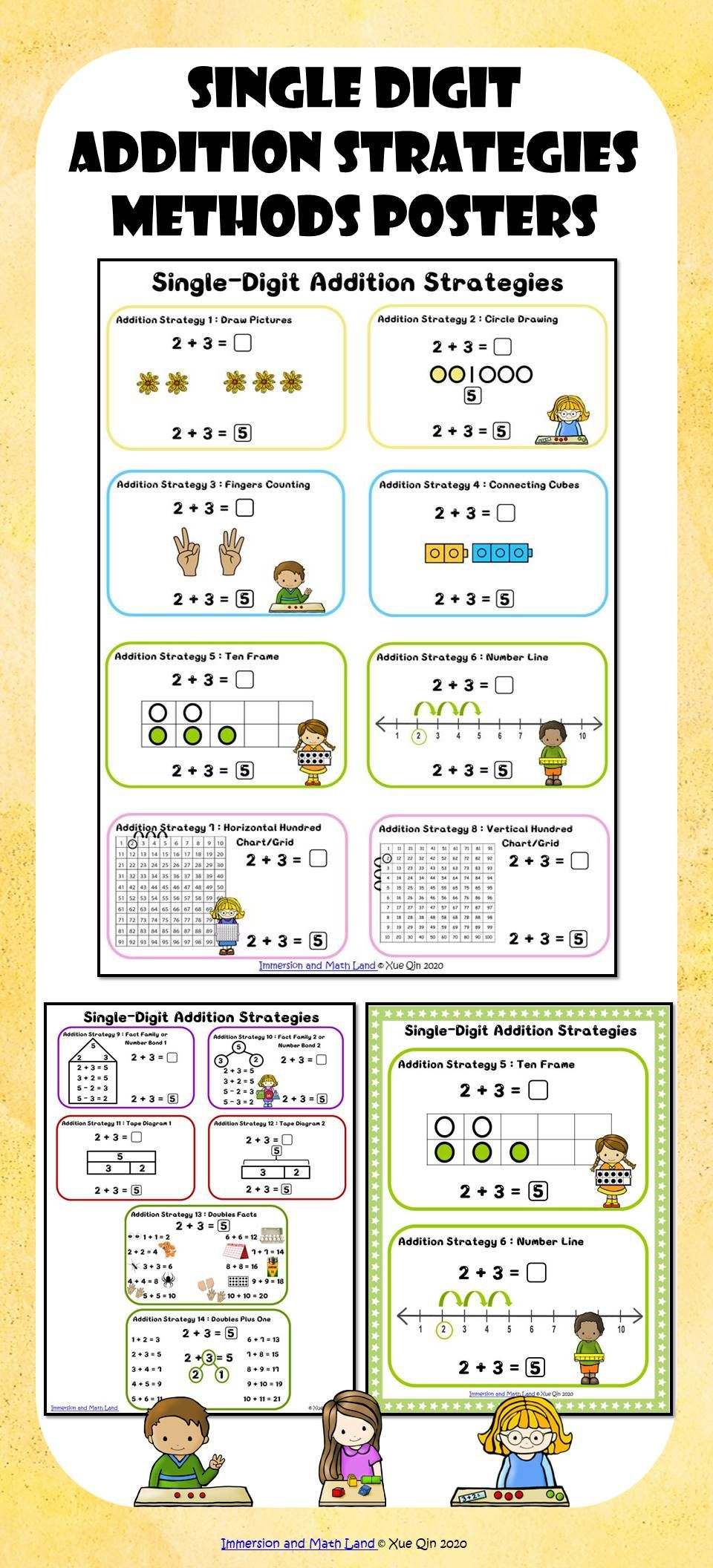Single Digit Addition Strategies Methods Posters Distance Learning Math Expressions Addition Strategies Math Adding to single digit numbers