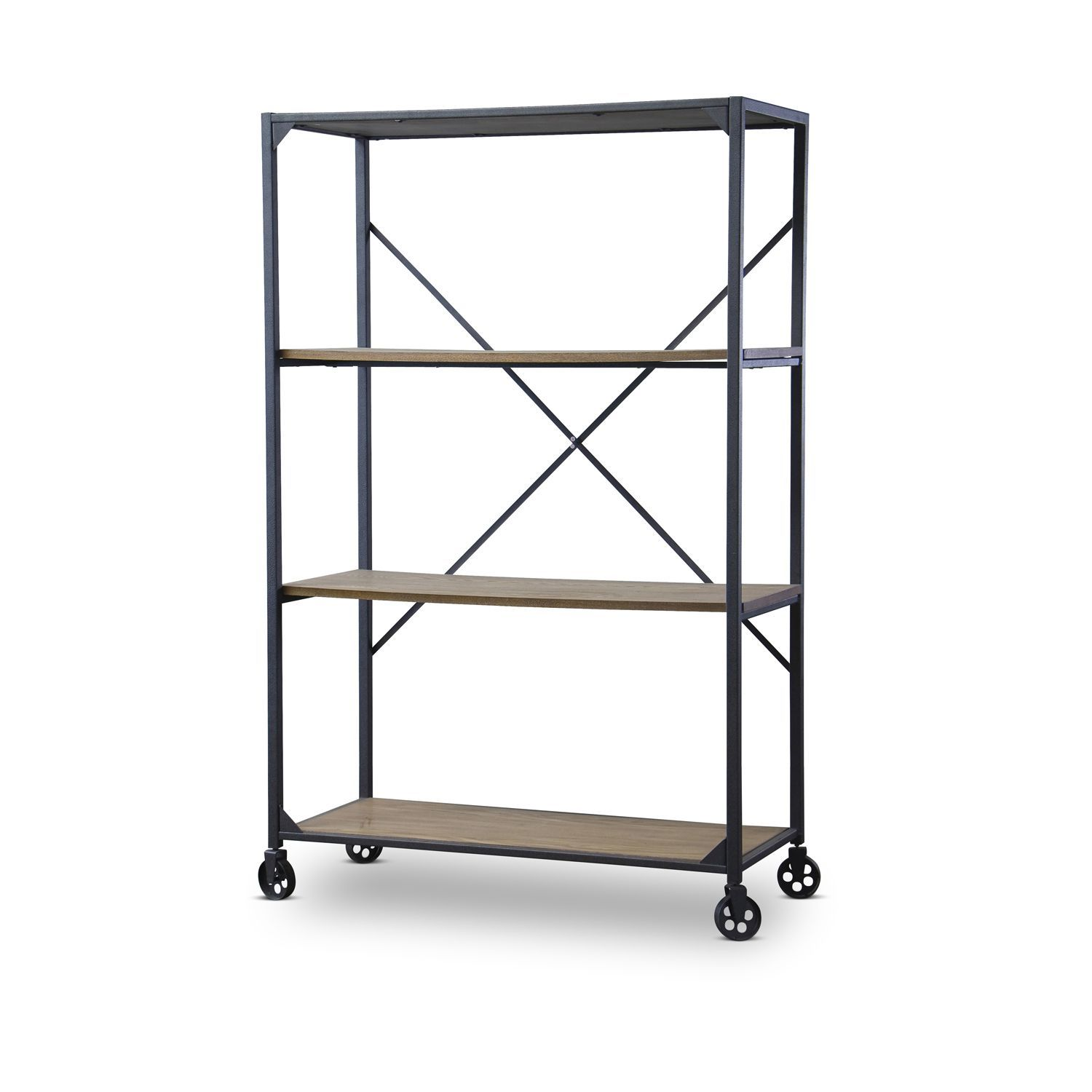 Uniting utility and convenience, our Caribou Wood and Metal Bookcase makes the most of a basic, solid design. This vintage industrial rustic bookcase features a great-looking distressed ash-veneer wood top and shelf.