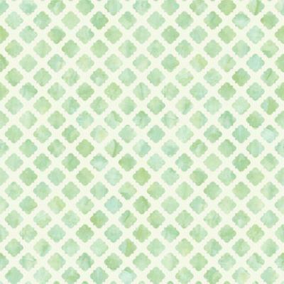 Watercolor Tile Wallpaper Green/White Double Roll