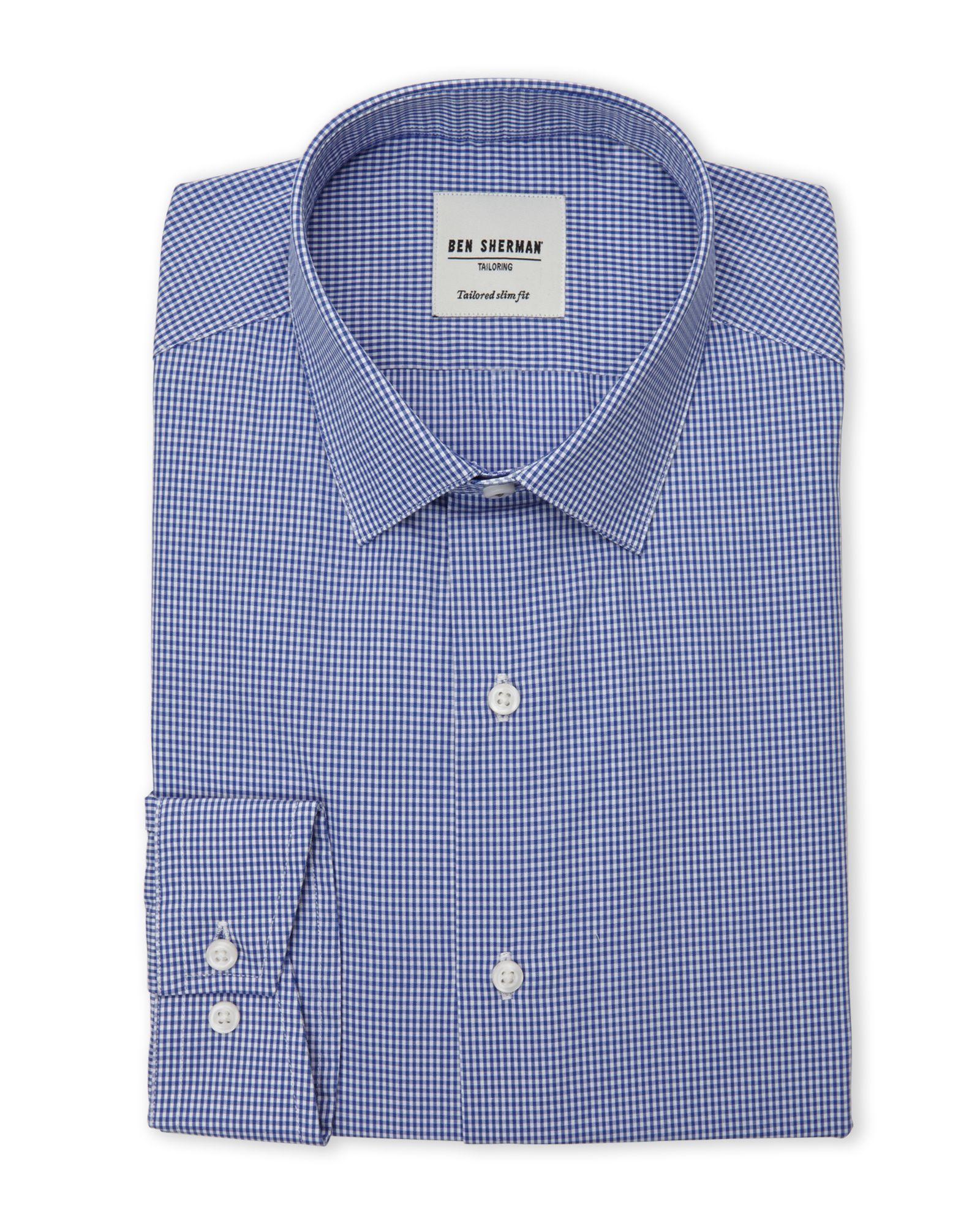Ben Sherman Blue & White Mini Gingham Tailored Slim Fit Dress Shirt