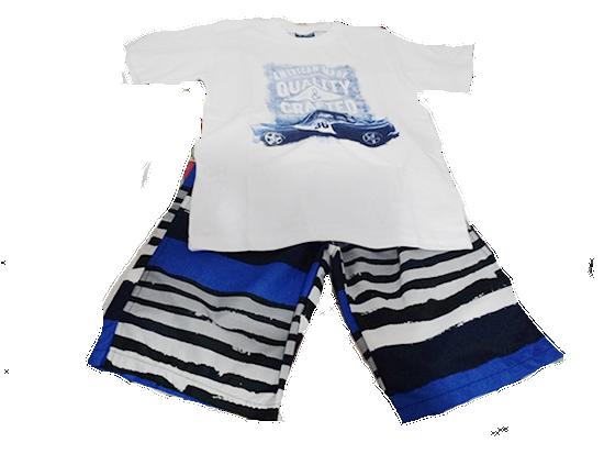 Conjunto masculino quality e craftedTamanho: 12 anosContem:01 camiseta branca escrito Quality e Crafted01 bermuda estampada com azul