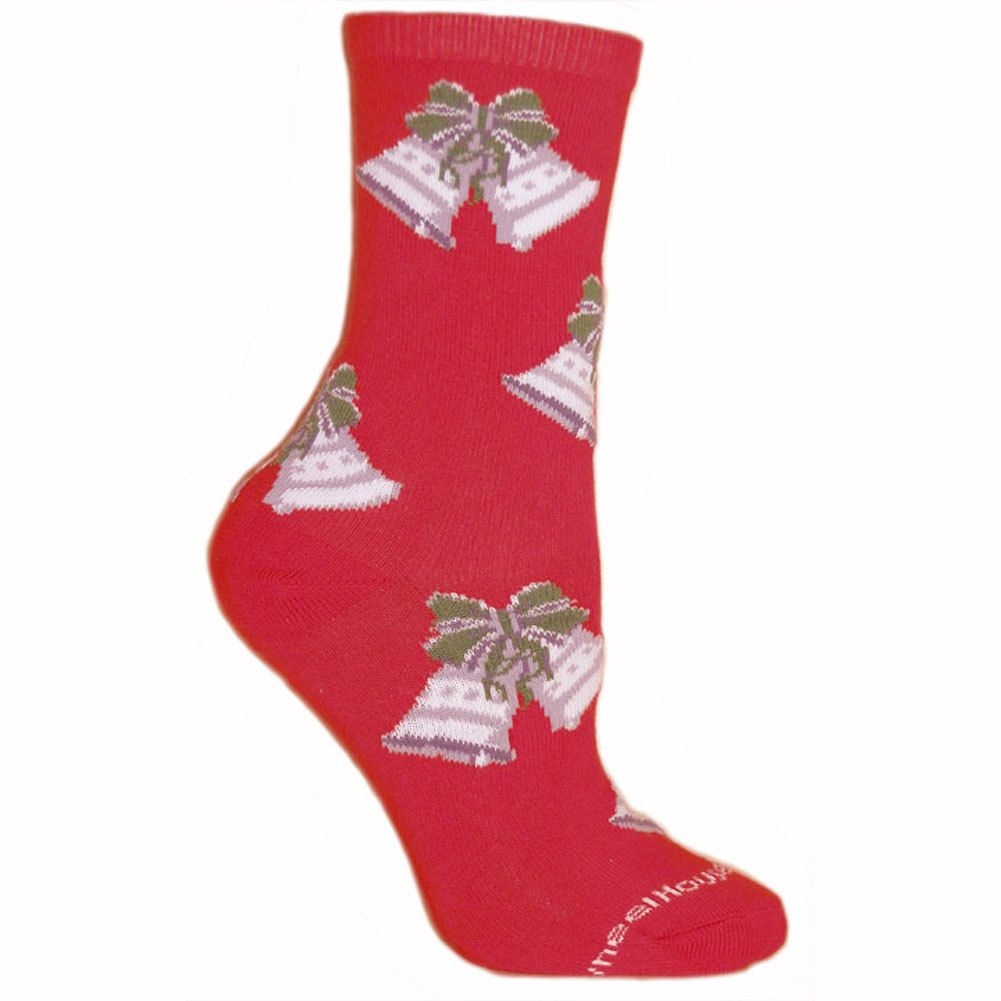Silver Bells Socks on Red | christmas socks on men's plush house slippers, men's scuff slippers, men's house coats, men's house robes, men's crochet slippers, 100% wool ragg socks, men's moccasins size 11 5, men's moccasin house slippers, men's house dress, men's leather house slippers, men's polo house slippers, men's shoe slippers,