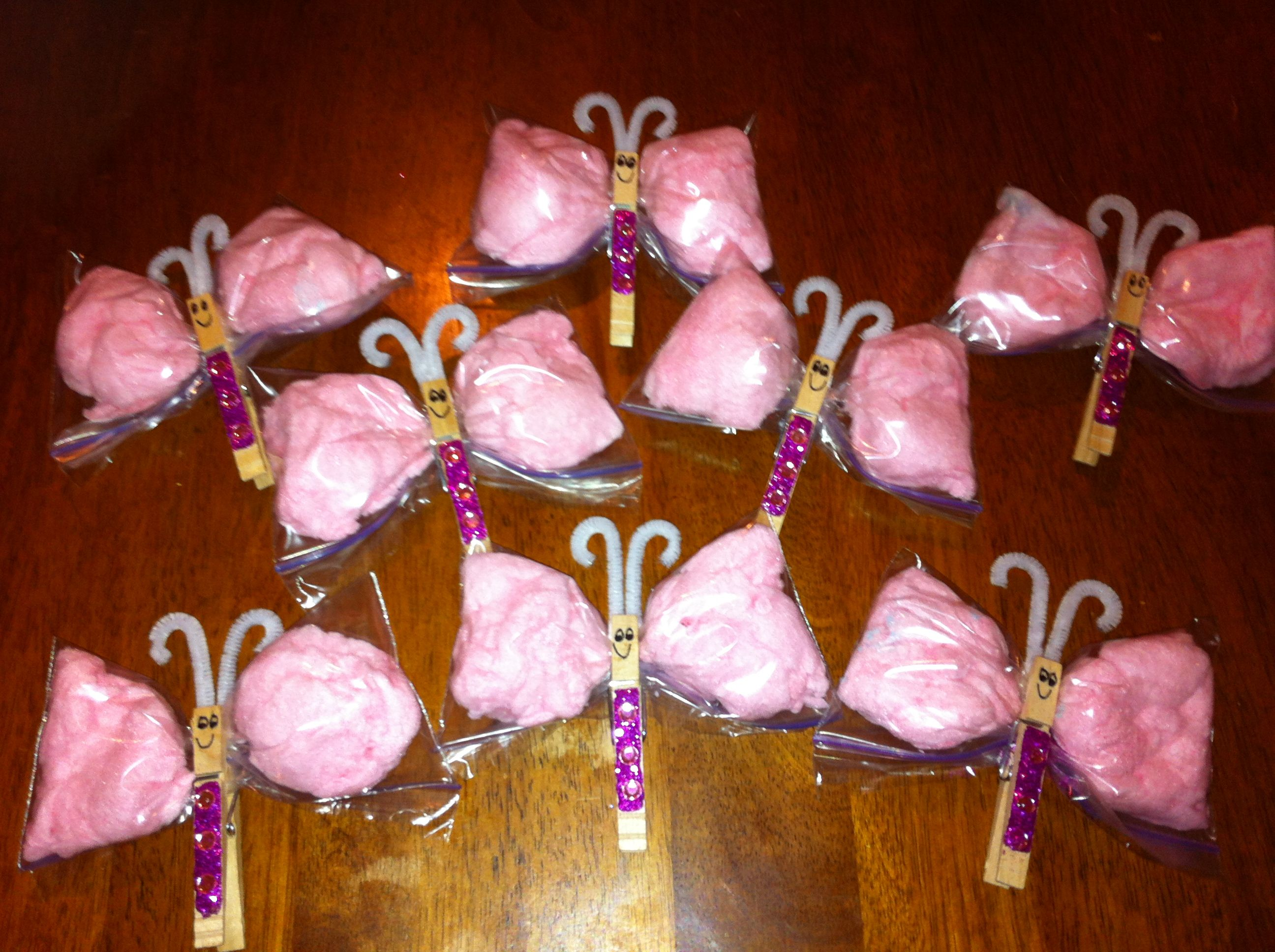 Cotton Candy Butterflies! Could put anything in the baggies :)