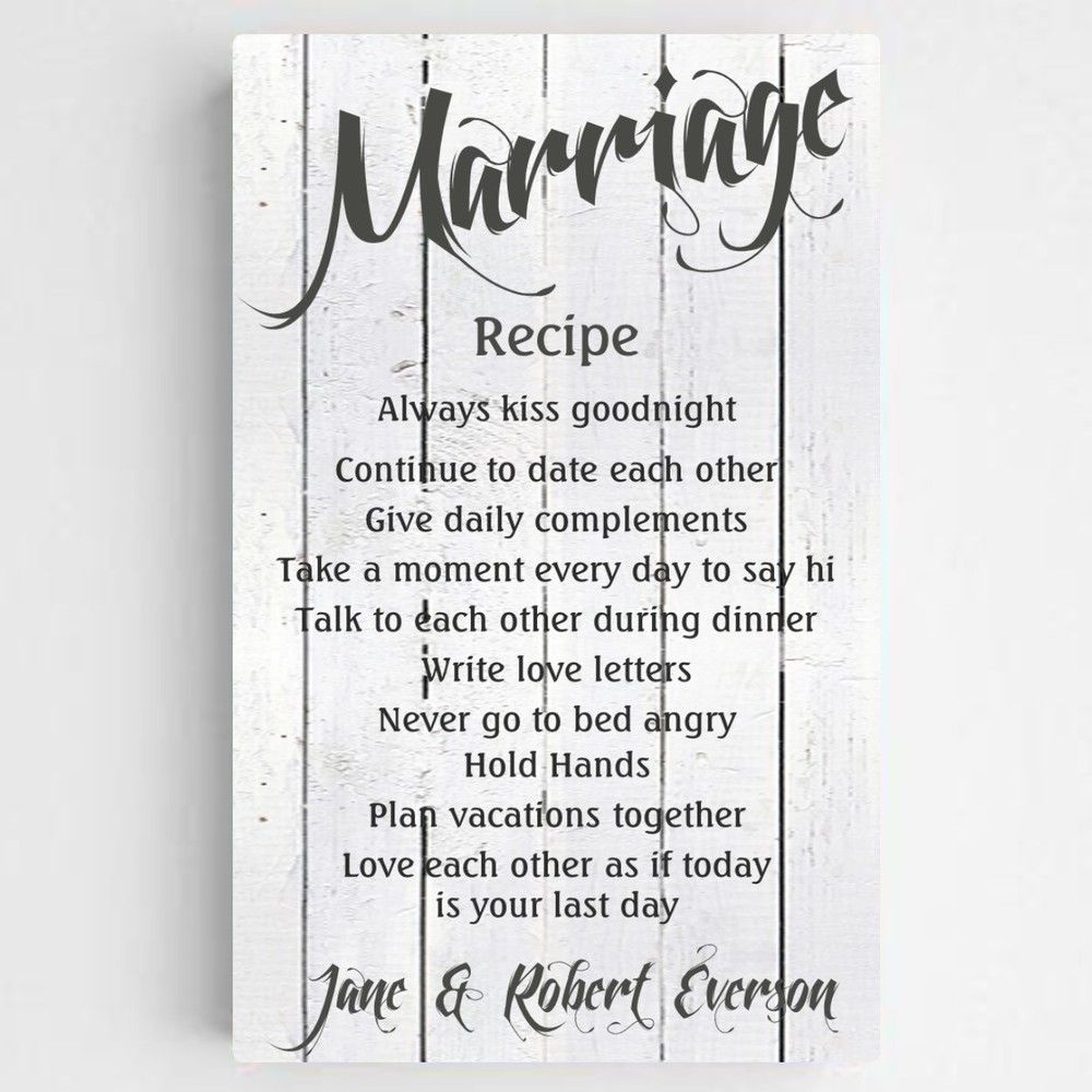 Personalized Marriage Recipe Canvas Recipe for marriage