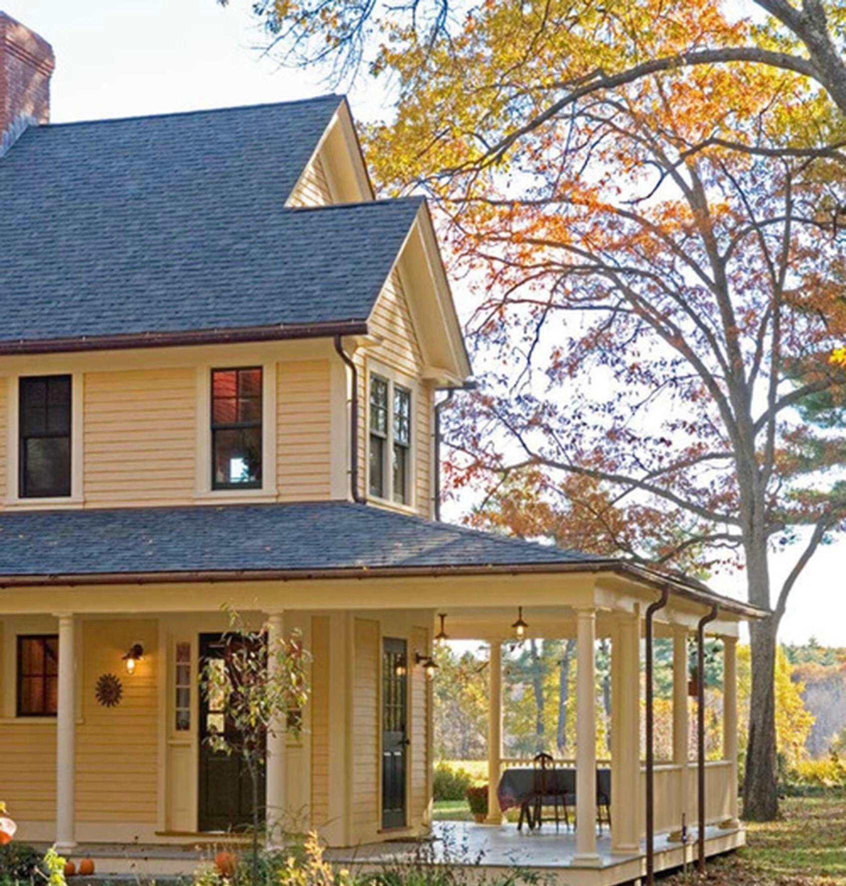 Farmhouse with wrap around porch house styles house