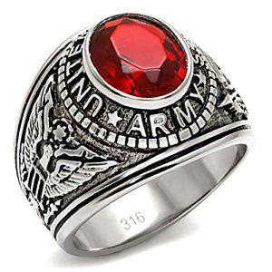 2d4aa757516 ISADY – US Army Rubis – Bague Homme – Chevalière – Acier – Oxyde de  zirconium rouge – Taille 60