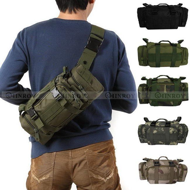 Men Light Nylon Outdoor Military Tactical Hiking Camping Waist Bag Pack