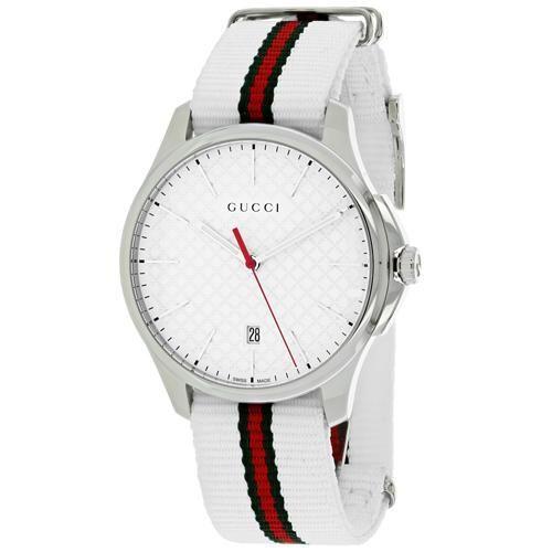 Gucci Mens G Timeless Ya126322 Quartz White Band White Dial White Watches For Men Gucci Watches For Men Gucci Men