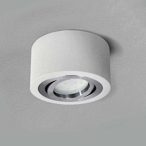 Flacher Decken Aufbauspot matt weiß schwenkbar rund mit LED Modul 5W warmweiß 230V